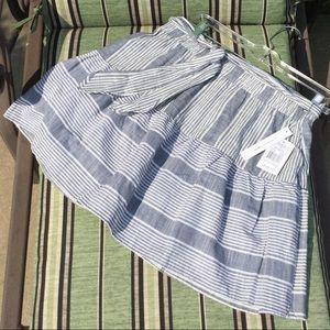 💙 Joe B denim look striped belted mini skirt M L
